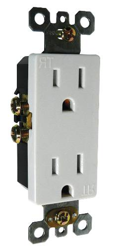 DECO RECEPTACLE TAMPER PROOF 15 AMPS WHITE