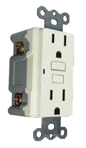 GFCI RECEPTACLE, 15 AMP, WHITE