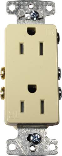 DECORATOR RECEPTACLE TAMPER PROOF 15 AMPS WHITE