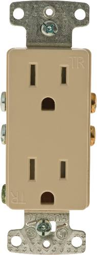 DECORATOR RECEPTACLE TAMPER PROOF 15A IVORY