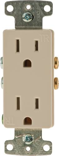 DECORATOR RECEPTACLE TAMPER PROOF 15A ALMOND