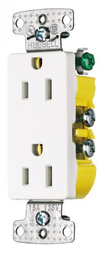DECORATOR RECEPTACLE SELF GROUNDING 15 AMPS WHITE
