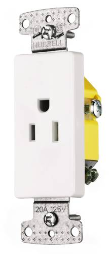 DECORATOR RECEPTACLE SINGLE SELF GROUNDING 15A WHITE