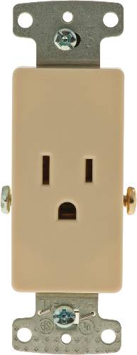 DECORATOR RECEPTACLE SINGLE SELF GROUNDING 15A IVORY
