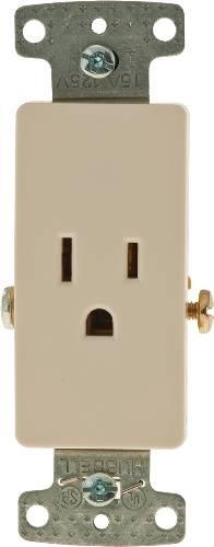 DECORATOR RECEPTACLE SINGLE SELF GROUNDING 15 AMPS ALMOND