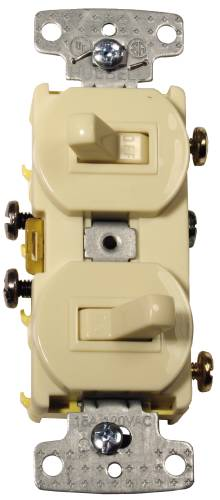 3 WAY AND REGULAR TOGGLE SWITCH COMBO 15 AMP IVORY
