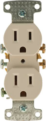 RECEPTACLE DUPLEX 15A PUSH TERMINAL BROWN