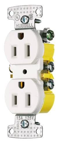 RECEPTACLE DUPLEX 15A SELF GROUNDING WHITE