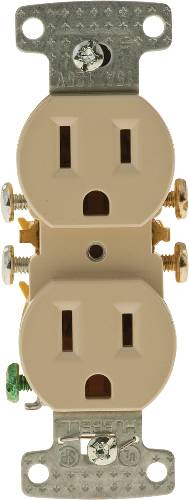 RECEPTACLE DUPLEX 15A SELF GROUNDING IVORY