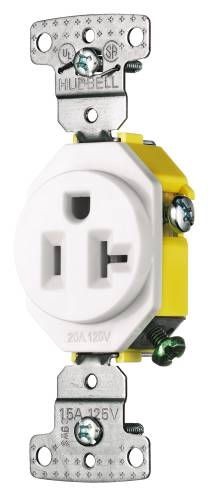 RECEPTACLE SINGLE SELF GROUND 20A 125V WHITE