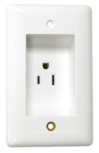 CLOCK HANGER RECESS RECEPTACLE 20 AMPS 125 VOLTS WHITE