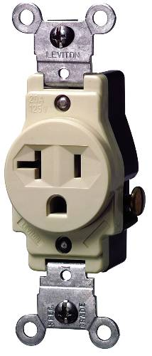 COMMERCIAL GRADE SINGLE RECEPTACLE 20 AMP 125 VOLT IVORY
