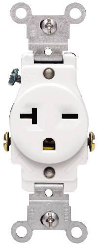 COMMERCIAL GRADE SINGLE RECEPTACLE 250 VOLT IVORY