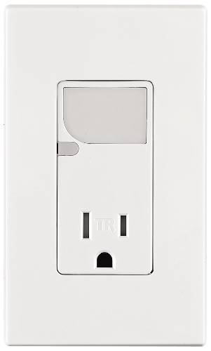 DECORA COMBO RECEPTACLE AND LED GUIDE LIGHT 15 AMPS 125 VOLTS WH
