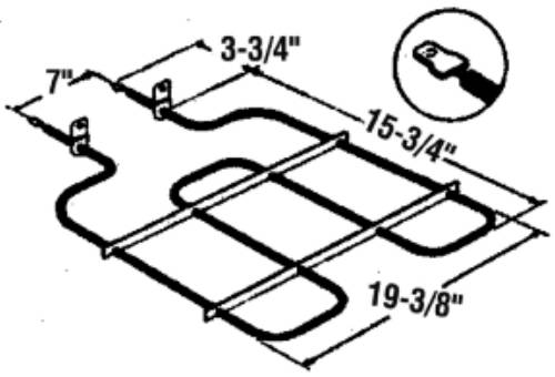 BAKE BROIL OVEN ELEMENT FOR WHIRLPOOL OR ROPER RP789