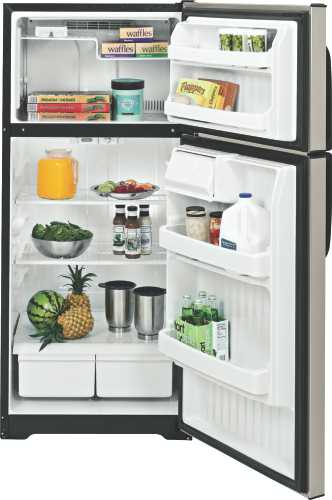 GE ENERGY STAR 18.1 CU. FT. TOP FREEZER REFRIGERATOR SILVER META
