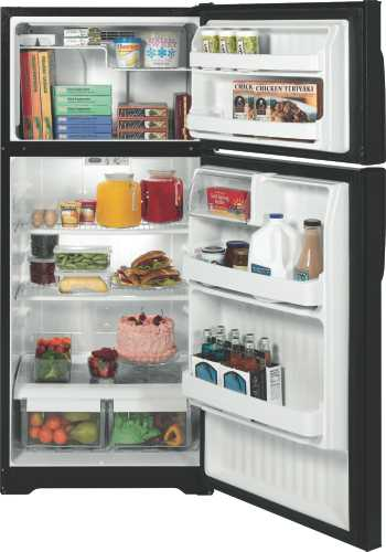 GE 15.7 CU. FT. TOP FREEZER REFRIGERATOR BLACK