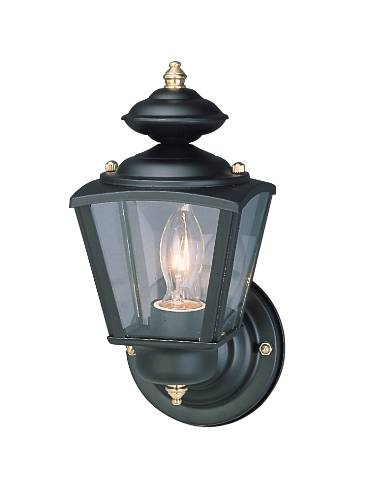 CONVERTIBLE OUTDOOR WALL LANTERN CLEAR BEVELED GLASS BLACK FINIS