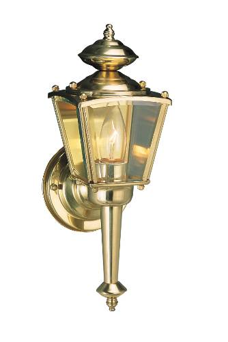 CONVERTIBLE OUTDOOR WALL LANTERN CLEAR BEVELED GLASS POLISHED BR