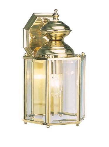 OUTDOOR WALL LANTERN 1 LIGHT POLISHED BRASS