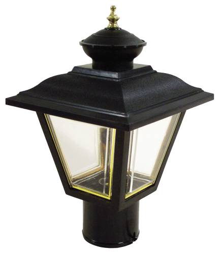 OUTDOOR POST LANTERN 7-3/4 IN. X 13-1/2 IN. POLISHED BRASS ON BL