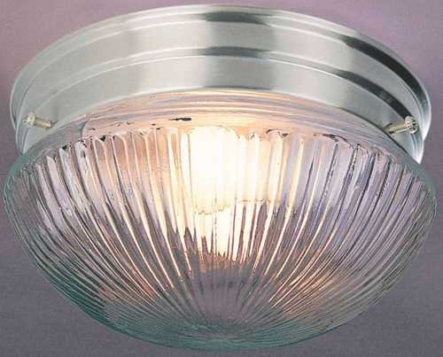 CEILING FIXTURE RIBBED GLASS BRUSHED NICKEL 7 IN. X 5 IN. 1-60 W