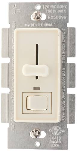 DIMMER SLIDE STYLE 700W SINGLE POLE OR 3 WAY ALMOND