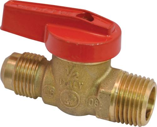 GAS BALL VALVE 1/2 IN. FLARE X 1/2 IN. MPT AGA