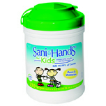 "SANI HANDS WIPES FOR KIDS 6""X7.5"" 6/220'S"