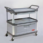XTRA 3-SHELF INSTRUMENT CART LOCKABLE DOORS GRA