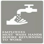 ADA SIGN, EMPLOYEES MUST WASH HANDS-GY/WE 6X9